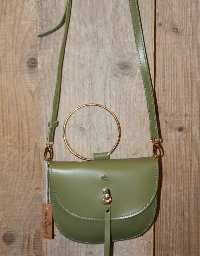 Tasje groen met gouden ring en hengsel