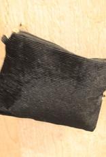 Tasje zwart rib met gouden ketting