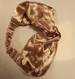 Haarband fluweel oud roze met parels