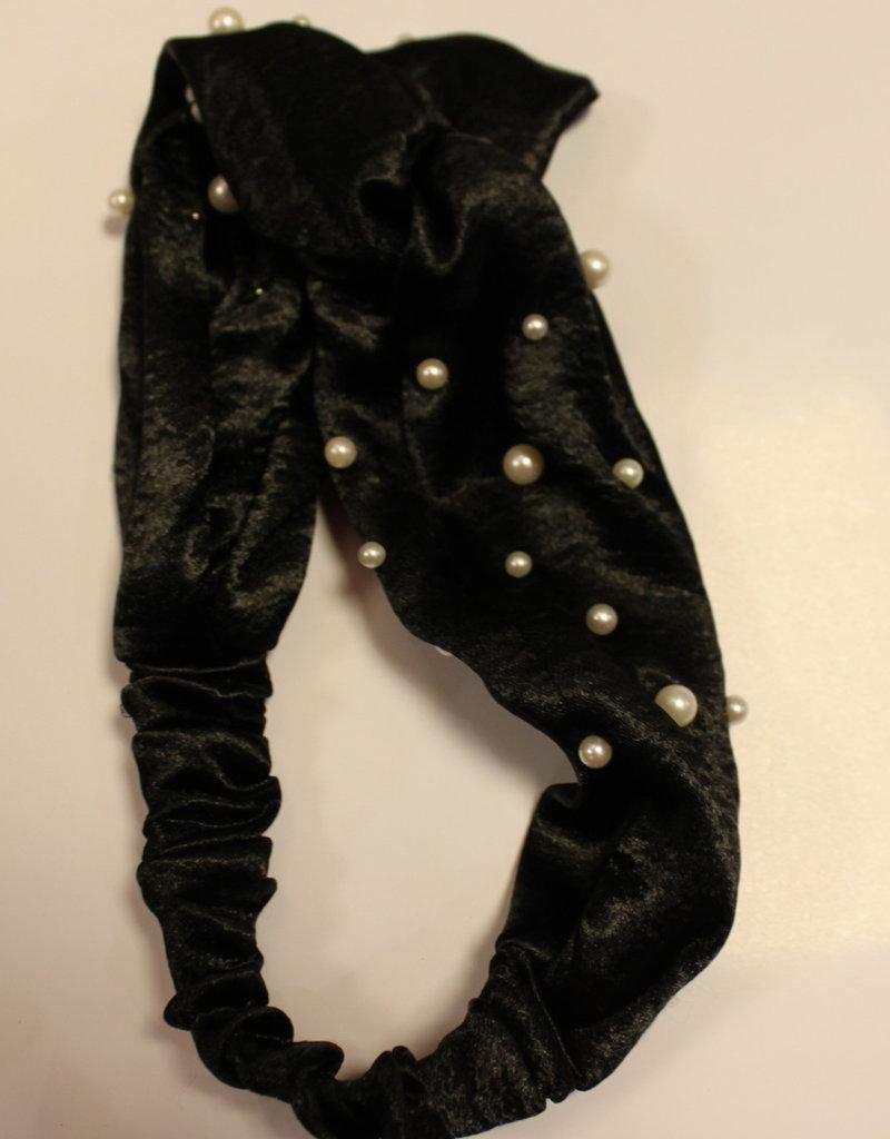 Haarband fluweel zwart met parels