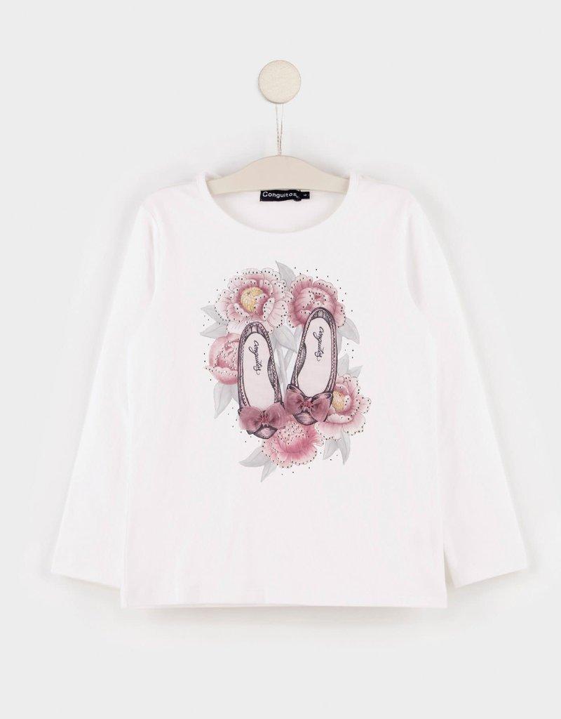 Conguitos Conguitos Shirt off white met bloem en schoentjes