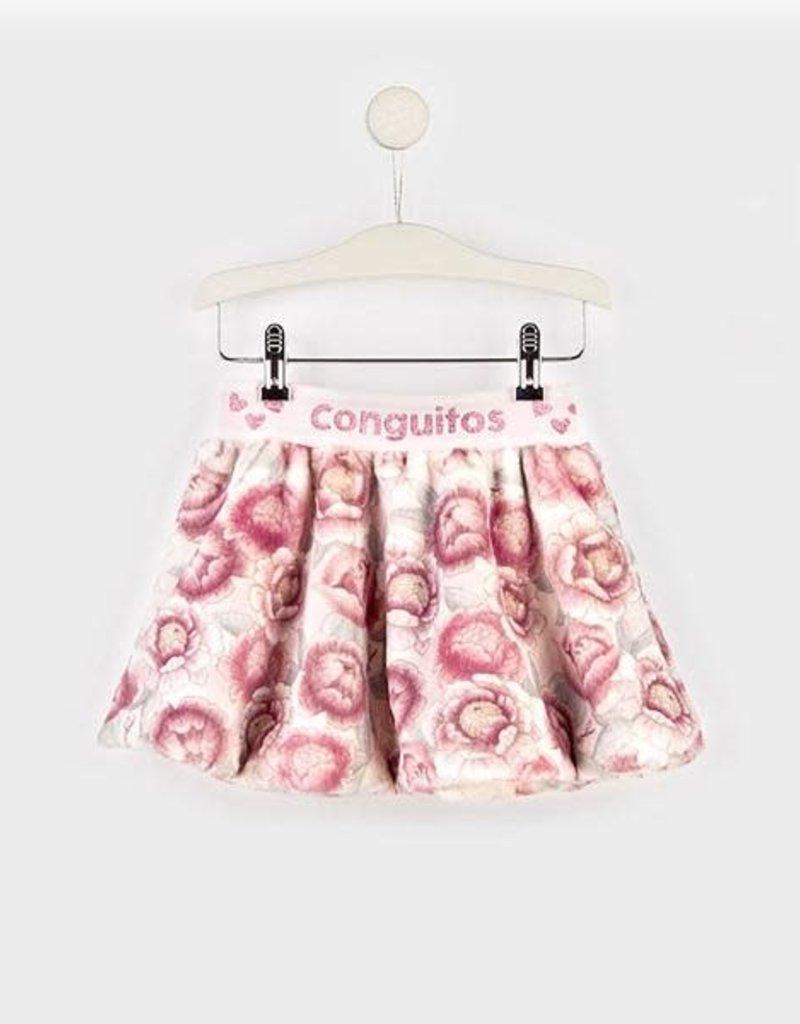 Conguitos Conguitos Rok bont met roze bloemen elastische band