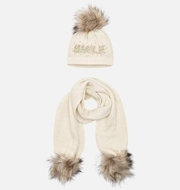 Mayoral Mayoral Hat and scarf set for girl beige/gold