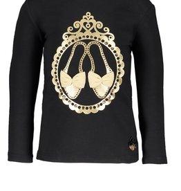 Le Chic Le Chic Shirt zwart met gouden schoentjes
