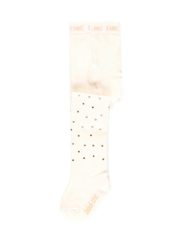 Boboli Boboli Thick tights for baby girl white whith gold 708061