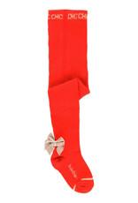 Boboli Boboli Thick tights for baby girl rood met beige fluwelen strik