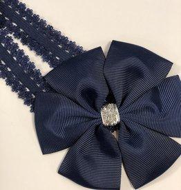 Haarband donkerblauw met grote strik