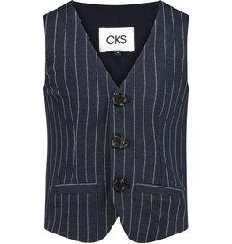 CKS CKS Gilet donkerblauw met wit streepje