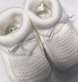 Klein Slofjes baby gebreid recht wit