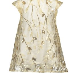 Le Chic Le Chic dress embroidered leaves C911-7808 Off White