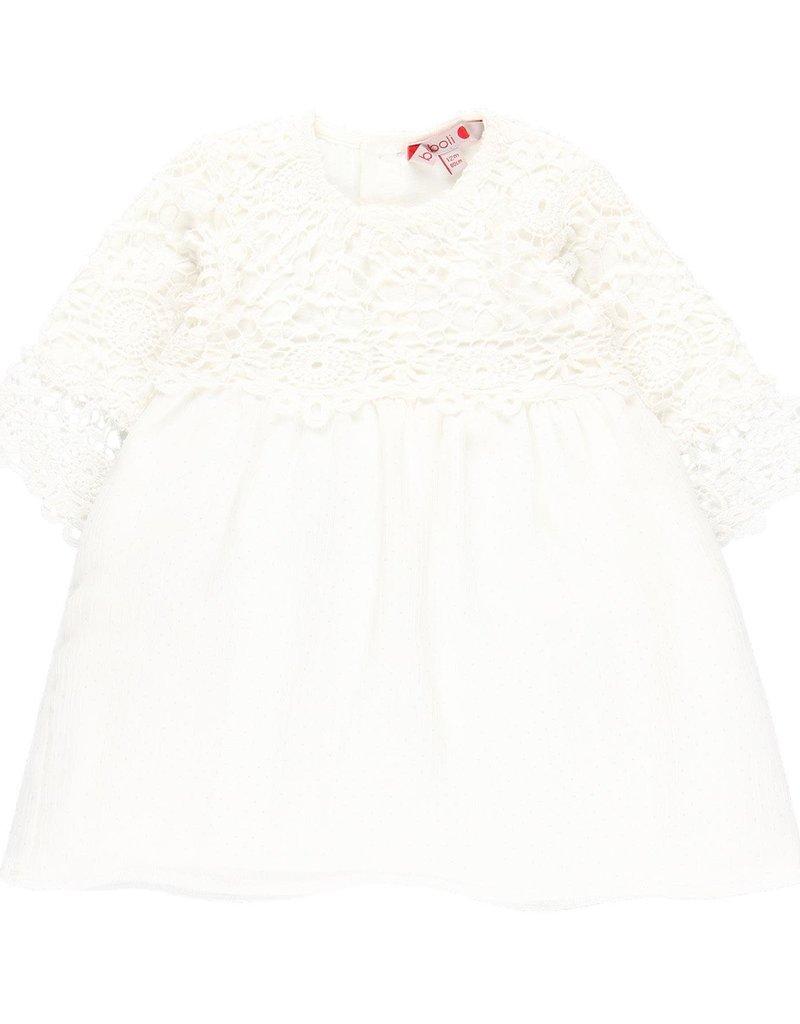 Boboli Boboli Guipure dress combined for baby girl white 709242