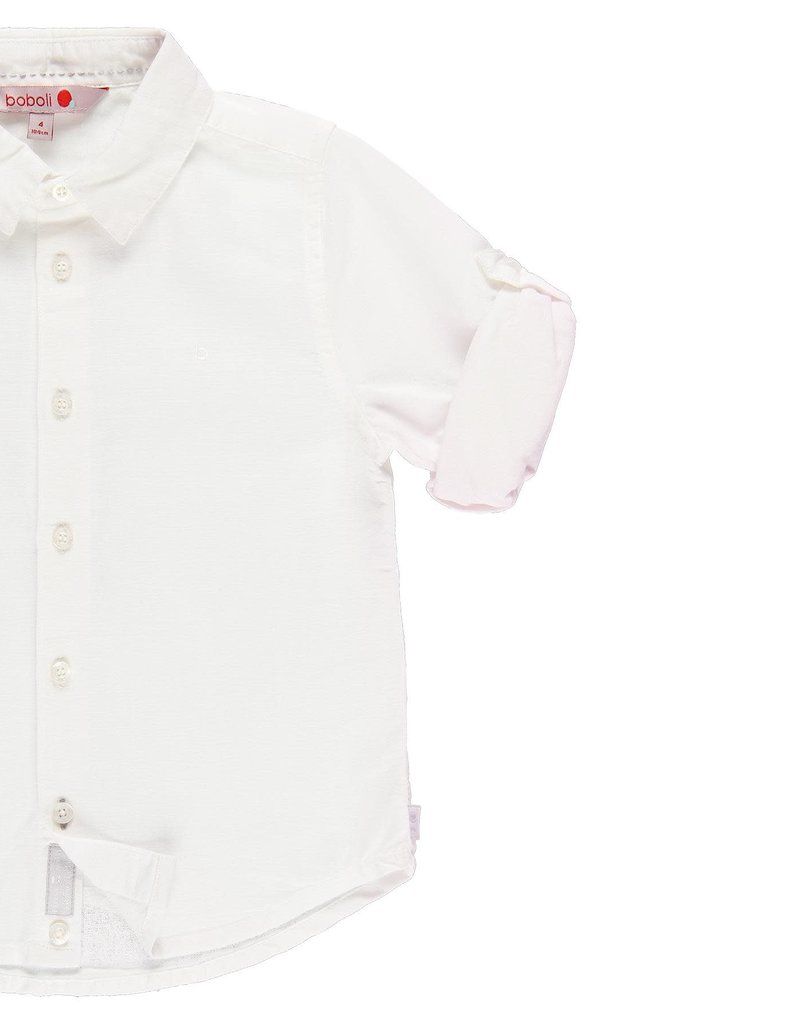 Boboli Boboli Linen shirt long sleeves for boy WHITE 739009