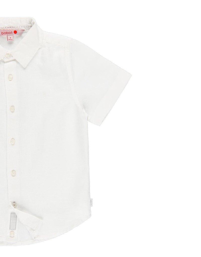 Boboli Boboli Linen shirt short sleeves for boy WHITE 739010