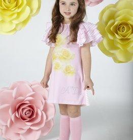 A'Dee A Dee Jurk roze glitter met gele roos