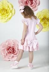 A'Dee A Dee Jurk roze met gestreept mouwtje