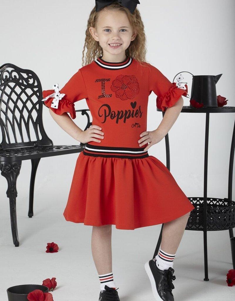 A'Dee A Dee Jurk rood met zwarte strik
