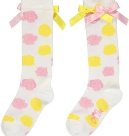 A'Dee A Dee Kniekousen ROOS roze en gele met strikken
