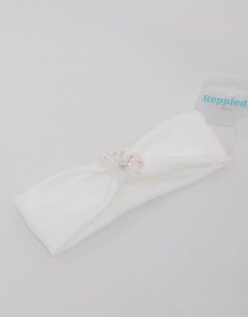 Heppidi Haarband baby off white met bloem