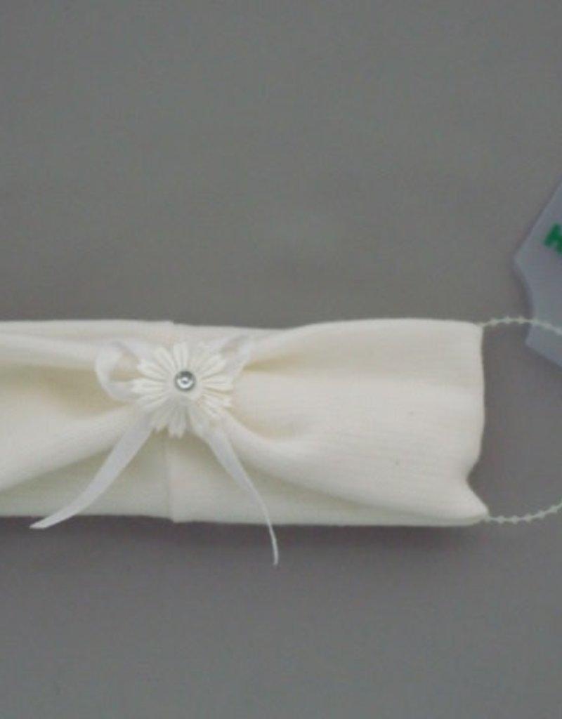 Heppidi Haarband baby wit met bloem en strik