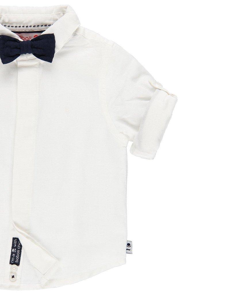 Boboli Boboli Linen shirt long sleeves for baby boy WHITE 719265