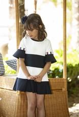 Patachou Patachou Jurk donkerblauw wit gestreept van tricot