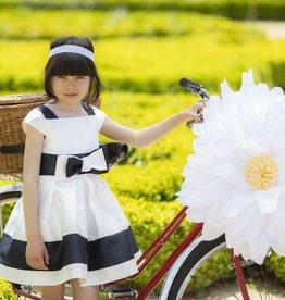 Patachou Patachou donkerblauw wit met wijde rok