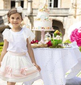 Patachou Patachou Rok off white met roze strikken