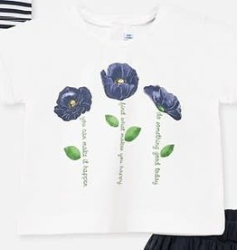 Mayoral Mayoral Shirt  wit met donkerblauwe roos