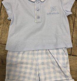 Tutto Piccolo Tutto Piccolo Shirt lichtblauw met ruitbroekje