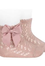 Condor Condor sokjes poeder oud roze open werkt met strik
