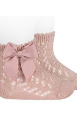 Condor Condor Sokje poeder roze open  gewerkt met strikken