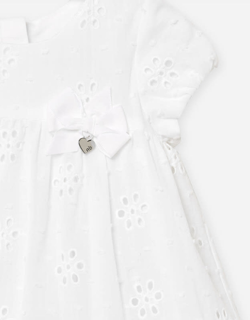 Mayoral Mayoral white dress with bow and knickers