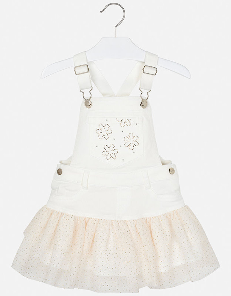 Mayoral Mayoral Dress  off white met tuille gouden stip rok