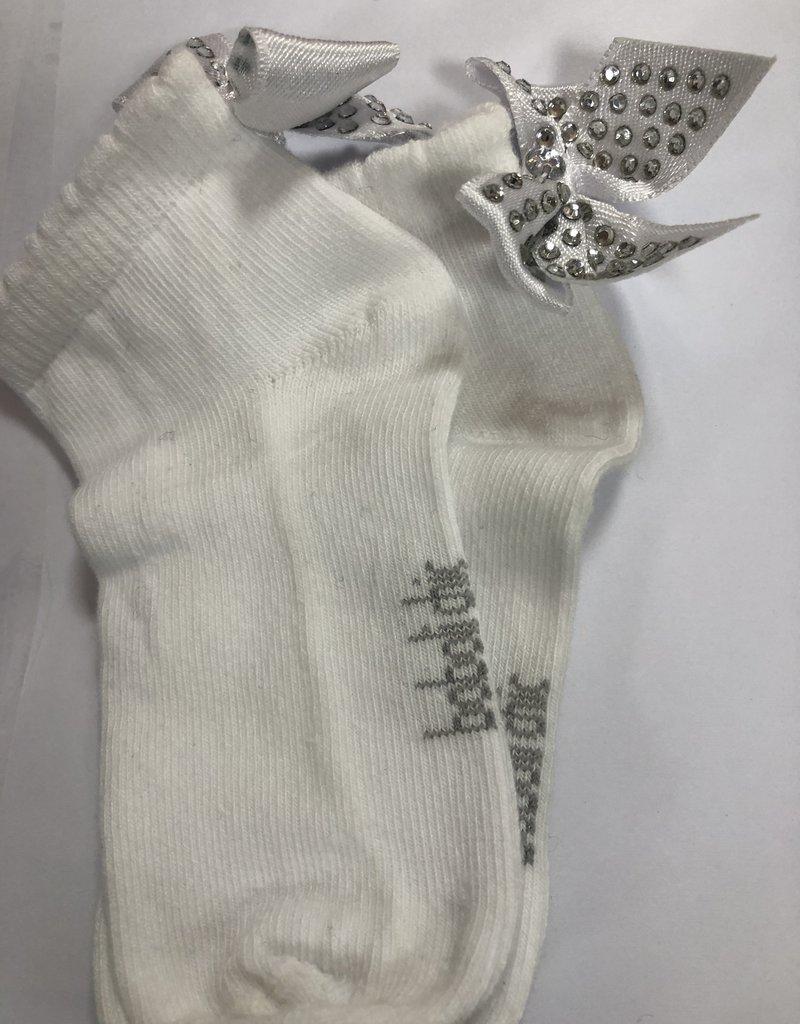 Boboli Boboli  Sokje wit met zilveren strik /steentjes