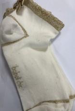 Boboli Boboli  Sokje off white met goud strikje