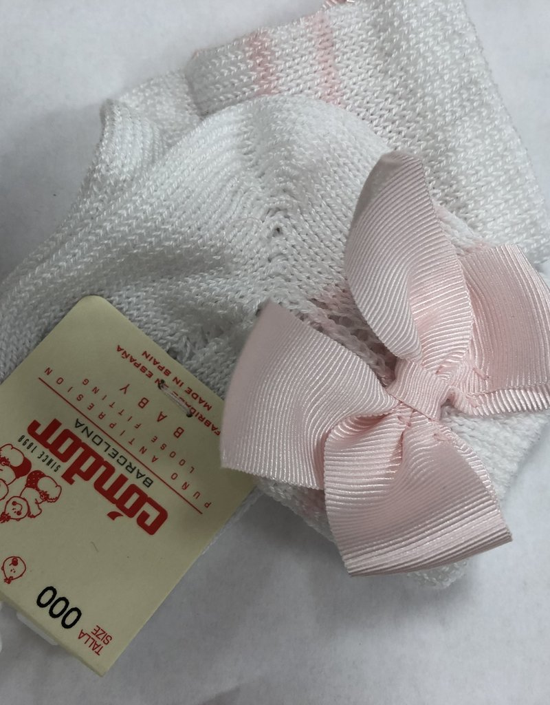 Condor Condor sokje roze wit open  gewerkt met strikken