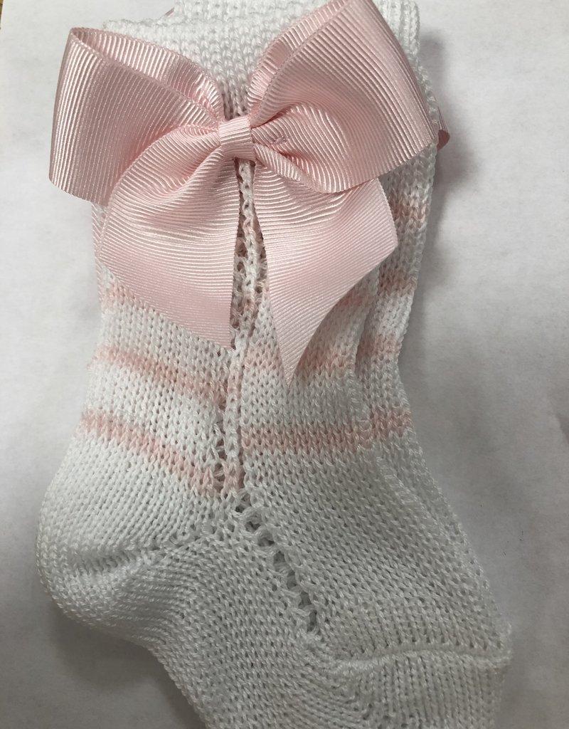 Condor Condor Kniekous roze wit open  gewerkt met strikken