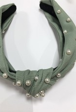 Diadeem mint groen knoop met parels
