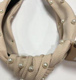 Diadeem oud roze /beige met parels