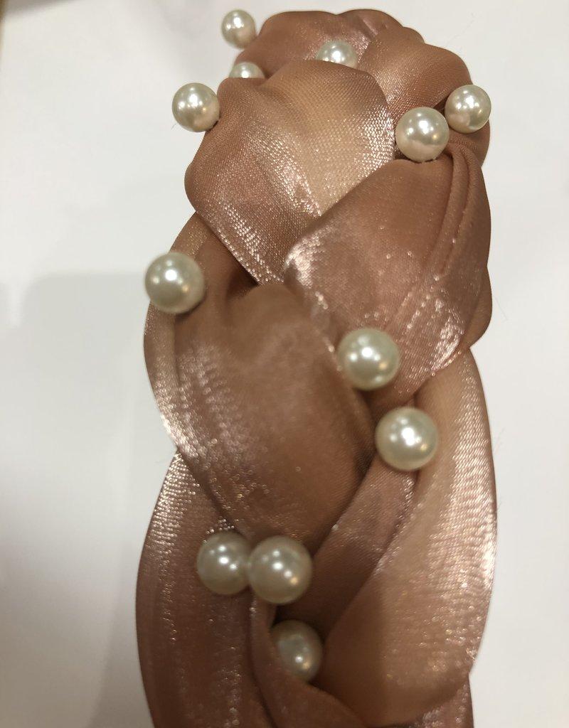 Diadeem oud roze glans met parels