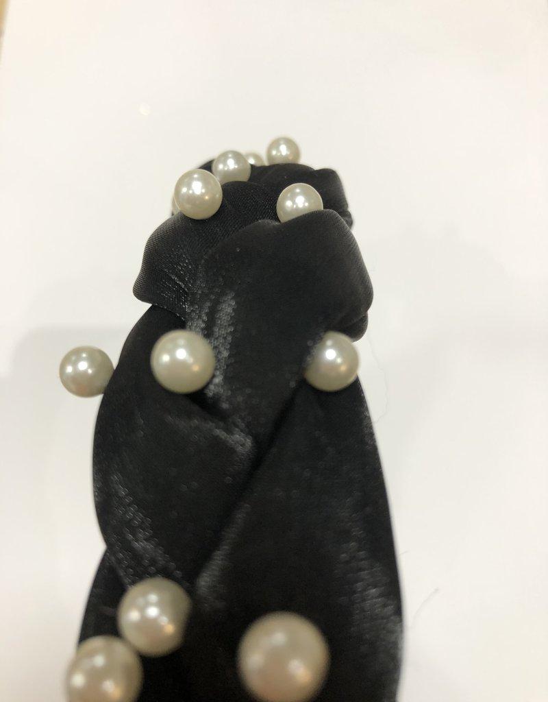 Diadeem zwart glans met parels