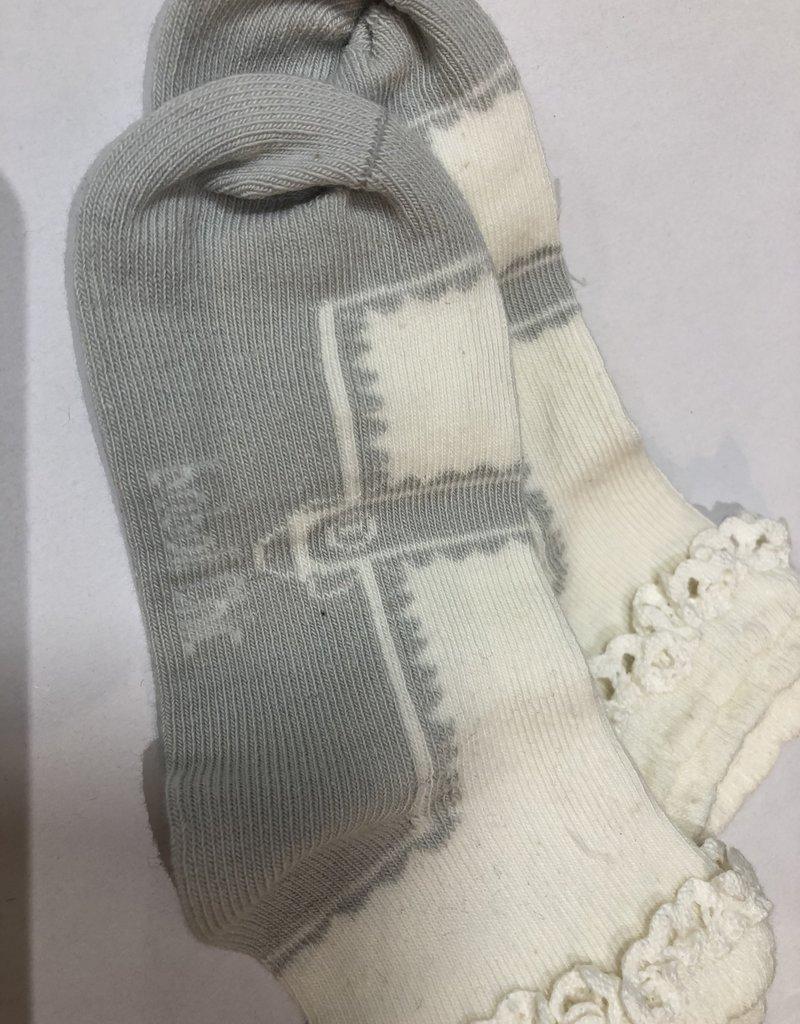 Boboli Boboli  Sokje off white met zilveren strassteentjes