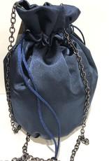 Tasje buidel donkerblauw satijn