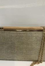 Tas linnen goud met houten sluiting en gouden ketting