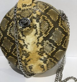 Koffertje slangen print geel met zilveren sluiting en ketting
