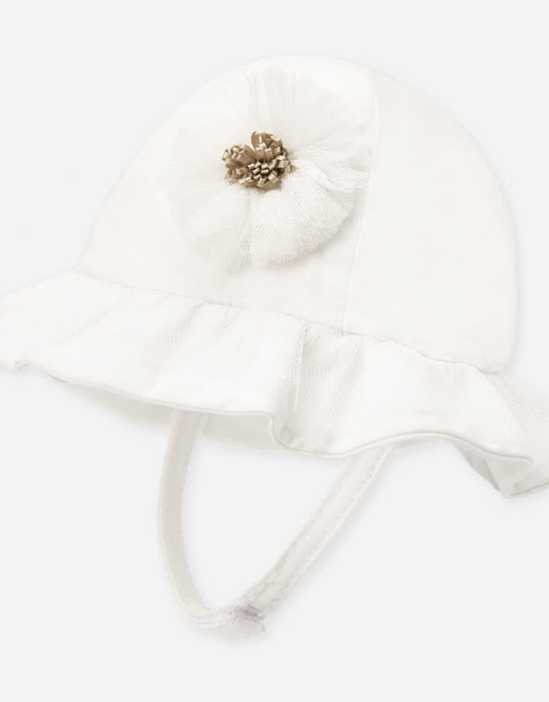 Mayoral Mayoral Formal hat for newborn girl off white