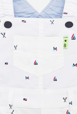 Mayoral Mayoral Patterned short dungarees for baby white boy
