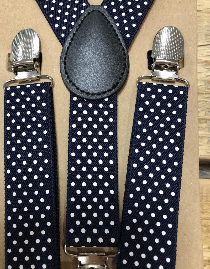 Bretels met leer donkerblauw met wit stipje