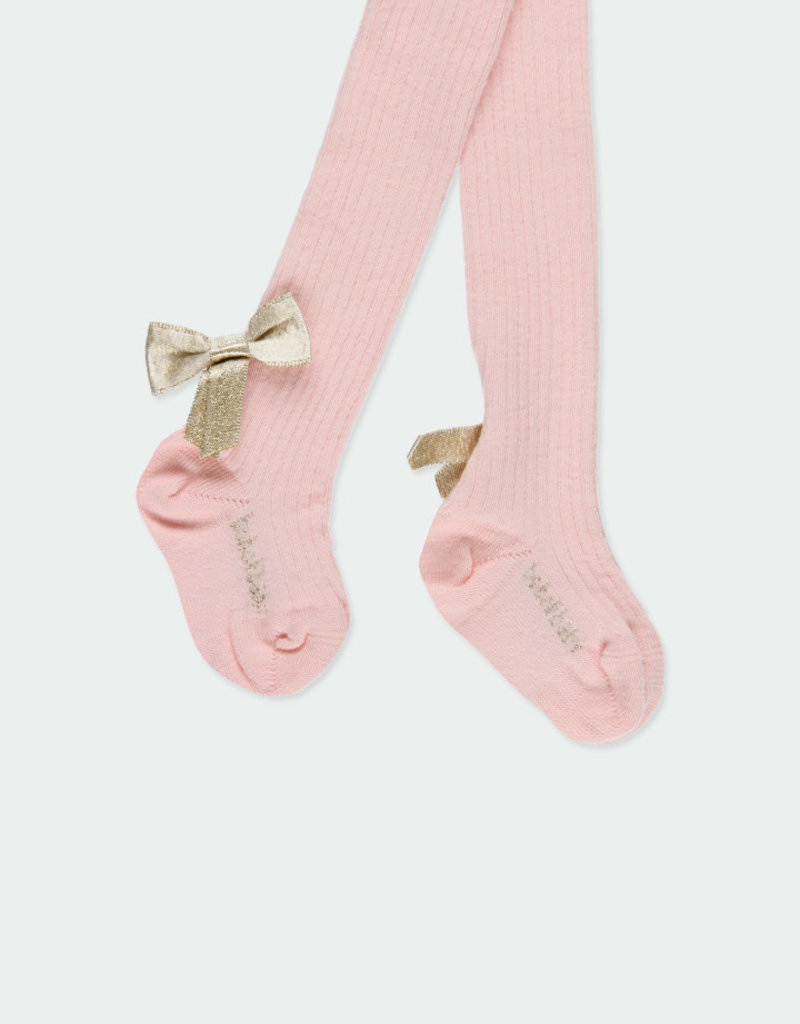 "Boboli Boboli Thick tights ""bows"" for baby girl blush 701244"