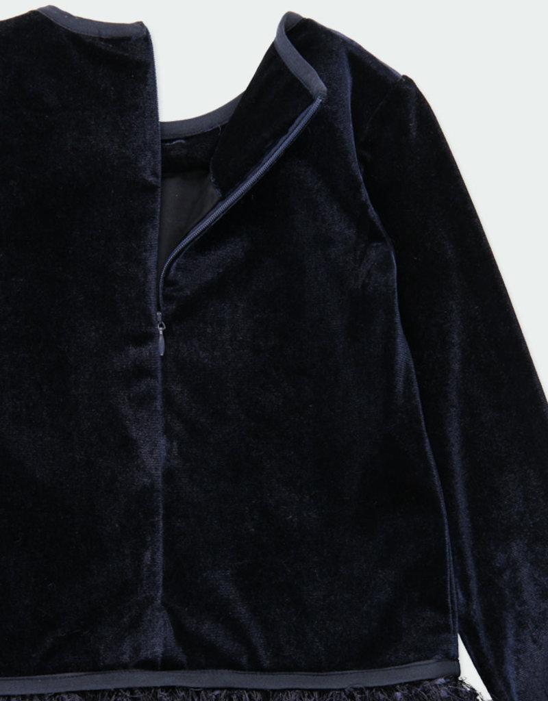 Boboli Boboli Velour dress with fringes for girl NAVY 721819